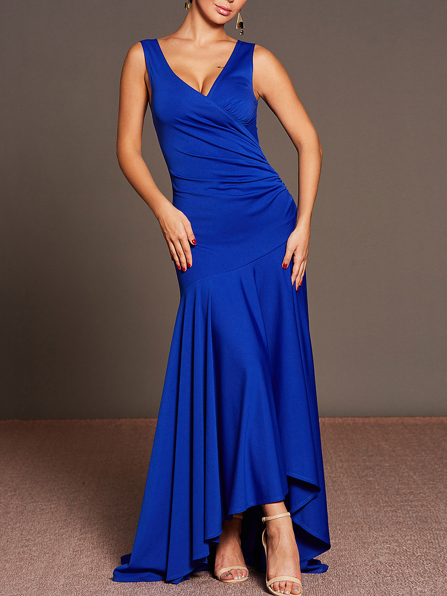Sexy Deep V-Neck Plain High-Low Maxi Dress
