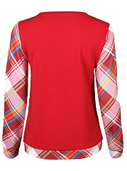 Round Neck Plaid Long Sleeve T-Shirt