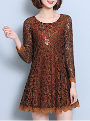 Solid Lace Hollow Out Round Neck Shift Dress