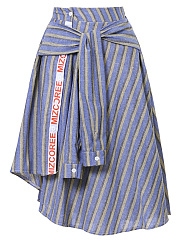 Tie-Front-Striped-Letters-Flared-Midi-Skirt