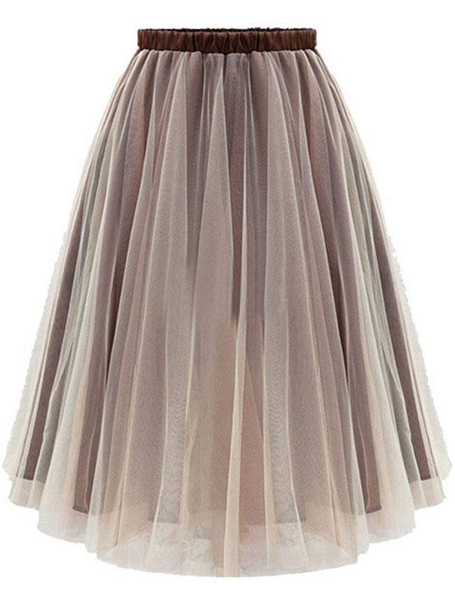Image of Fashionmia Basic Hollow Out Flared Midi Skirt