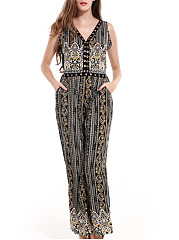 Tribal-Printed-V-Neck-Pocket-Back-Hole-Wide-Leg-Jumpsuit