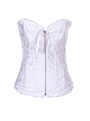 Plus Size Women Sexy Jacquard Lace Up Corset Waist Training Satin Overbust Bustie