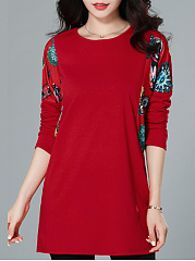 Round Neck  Loose Fitting Patchwork  Print Long Sleeve T-Shirts