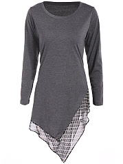 Longline Asymmetric Hem Plaid Hollow Out Long Sleeve T-Shirt