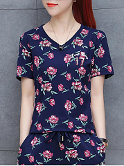Polyester  V-Neck  Floral Printed  Short Sleeve Short Sleeve Suit T-Shirts