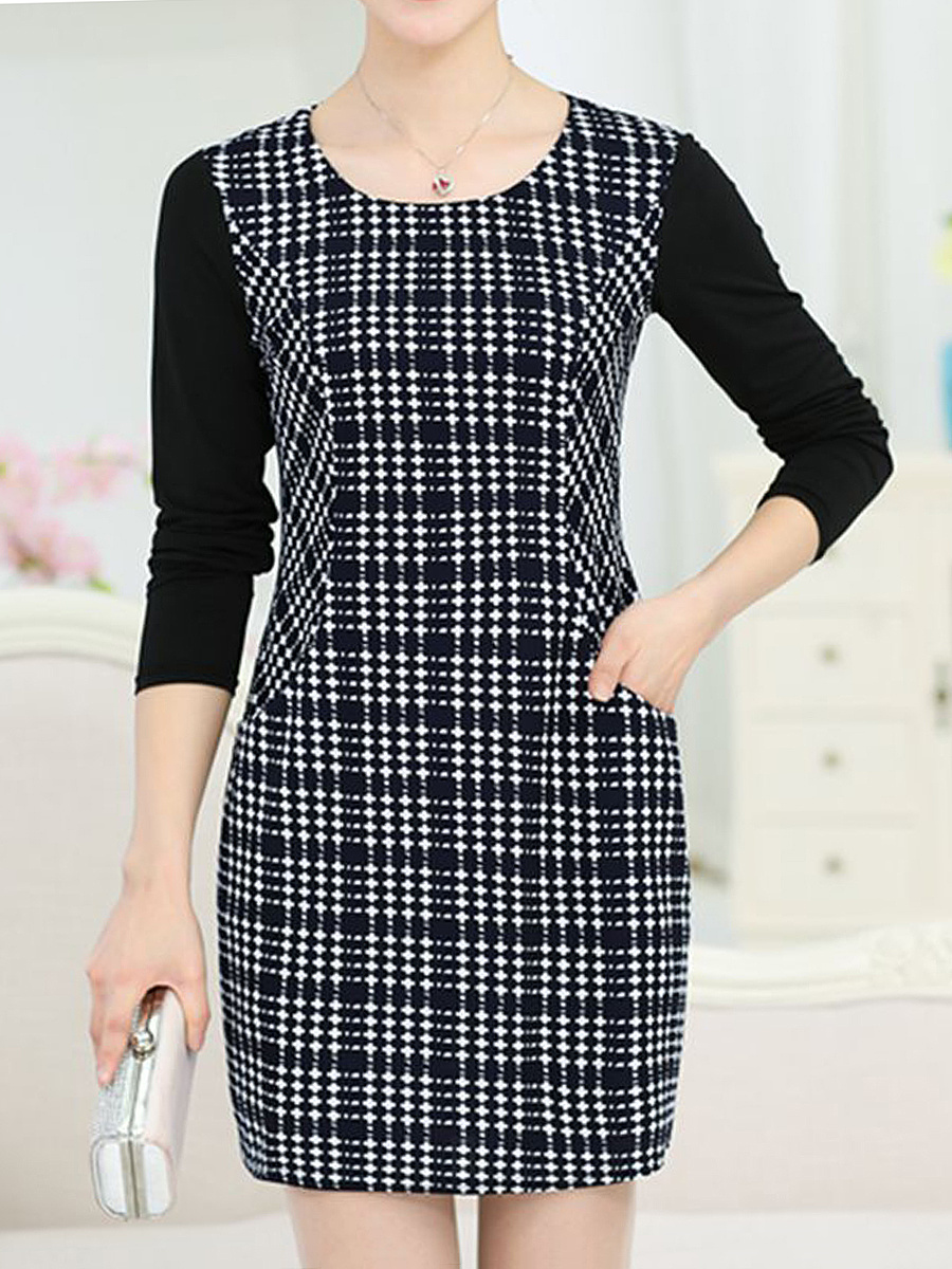 Round Neck Plaid Pocket Bodycon Dress