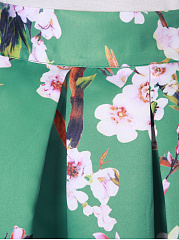 Floral Printed Inverted Pleat Flared Maxi Skirt