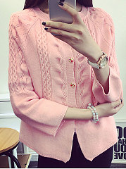 Collarless  Decorative Button  Embossed  Long Sleeve Cardigans