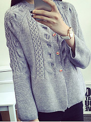 Collarless  Decorative Button  Embossed  Long Sleeve Sweaters Cardigans