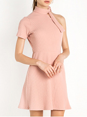 Open Shoulder  Plain Skater Dress