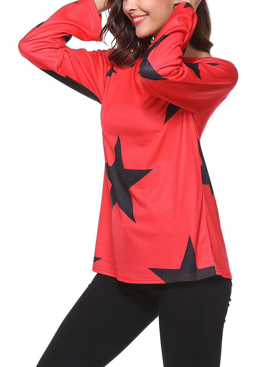 Autumn Spring  Polyester  Women  Boat Neck  Printed Long Sleeve T-Shirts