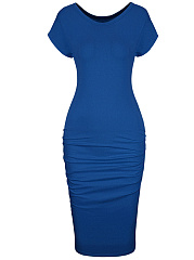 Round Neck Solid Ruched Simple Bodycon Dress
