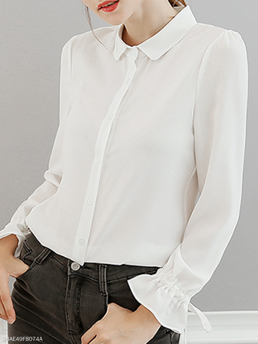 Turn Down Collar  Loose Fitting  Plain  Petal Sleeve Blouses