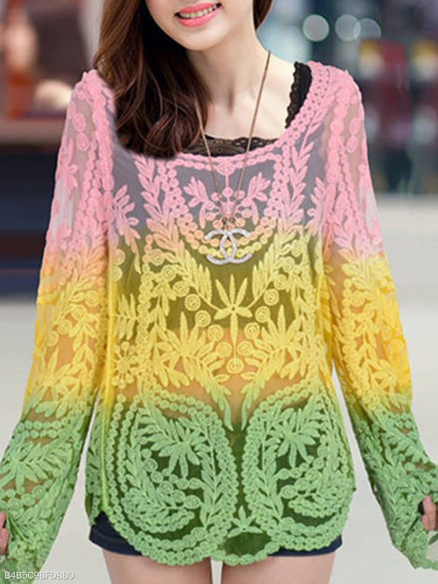 Spring Summer  Polyester  Women  Round Neck  See-Through  Floral Gradient  Long Sleeve Blouses