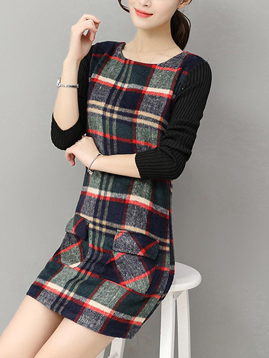 Round Neck Plaid  Flap Pocket Woolen Mini Shift Dress