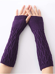 Knit Arm Warmer Fingerless Winter Long Gloves