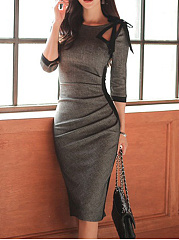 Round Neck Bowknot Cutout Ruched Bodycon Dress