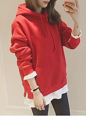 Patch Pocket Patchwork  Plain  Long Sleeve Hoodies