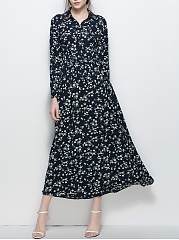 Tiny Floral Printed Turn Down Collar Maxi Dress