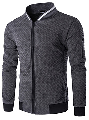 Band-Collar-Pocket-Plaid-Men-Jacket