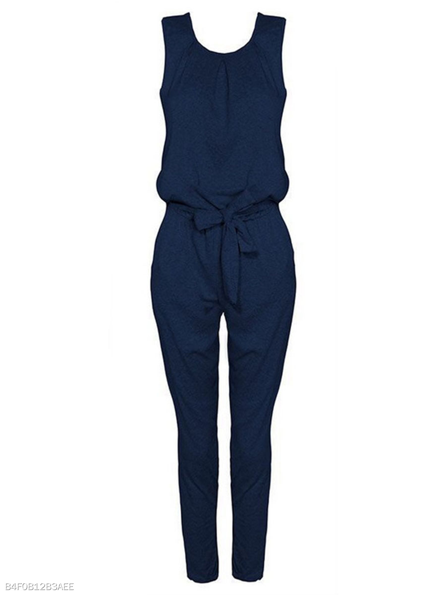 Round Neck Bowknot Plain Slim-Leg Jumpsuit
