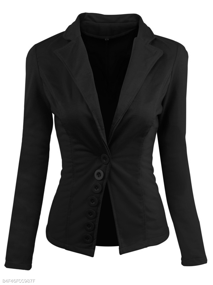 Notch Lapel Decorative Button Plain Blazer