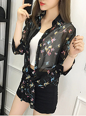 Turn Down Collar  Single Breasted Snap Front  Printed Kimono