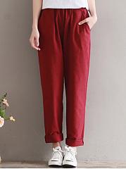 Elastic-Waist-Pocket-Plain-Slim-Leg-Casual-Pants