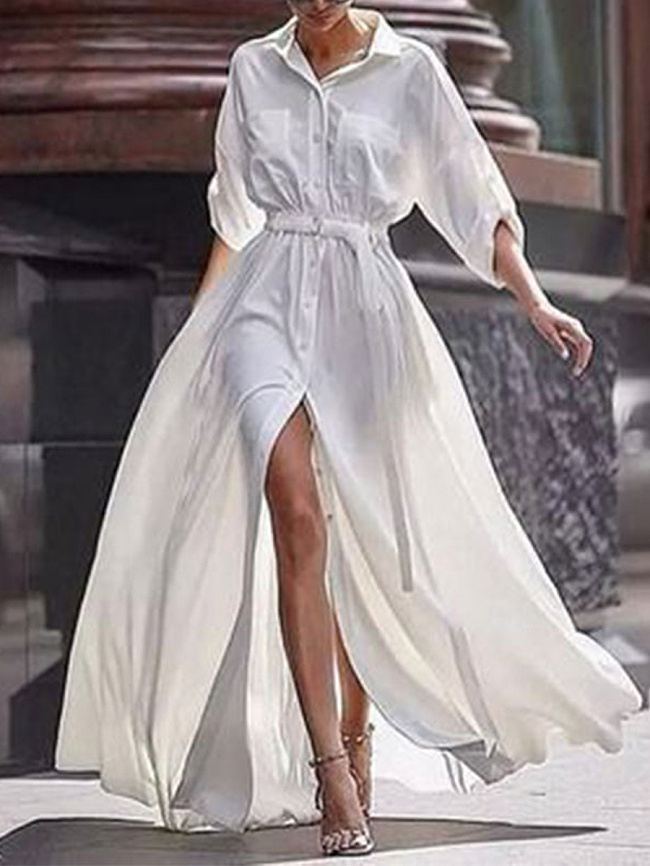 Image of Fashionmia Button Down Collar Roll Up Sleeve Half Sleeve Maxi Dresses
