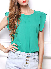 Spring Summer  Chiffon  Women  Round Neck  Plain  Extra Short Sleeve Blouses