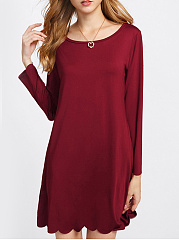 Round Neck  Cutout Casual Plain Shift Dress
