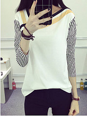 Autumn Spring  Polyester  Women  Asymmetric Neck  Patchwork  Striped Long Sleeve T-Shirts