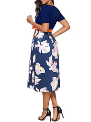 Floral Printed Round Neck Bowknot Midi Skater Dress