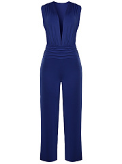 Deep-V-Neck-Fancy-Plain-Wide-Leg-Jumpsuit
