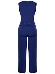 Deep V-Neck Fancy Plain Wide-Leg Jumpsuit