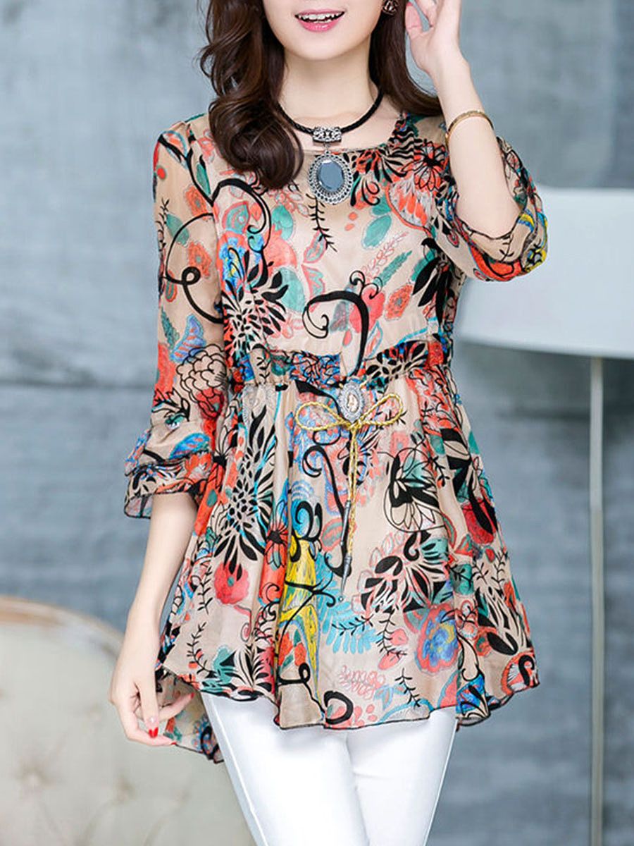 Round Neck  Drawstring  Floral Long Sleeve T-Shirts