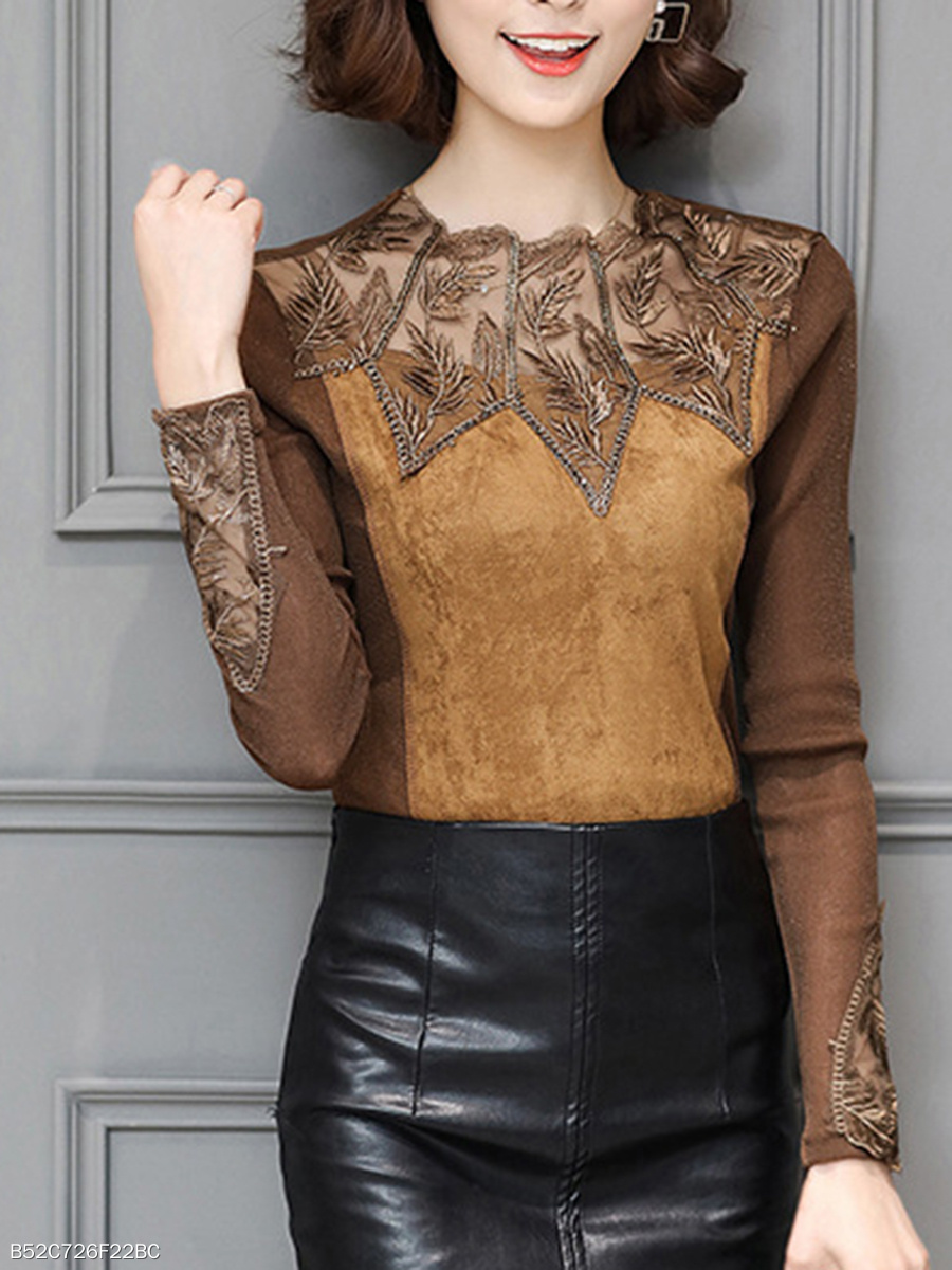 Autumn  Polyester  Crew Neck  Hollow Out  Long Sleeve Blouses
