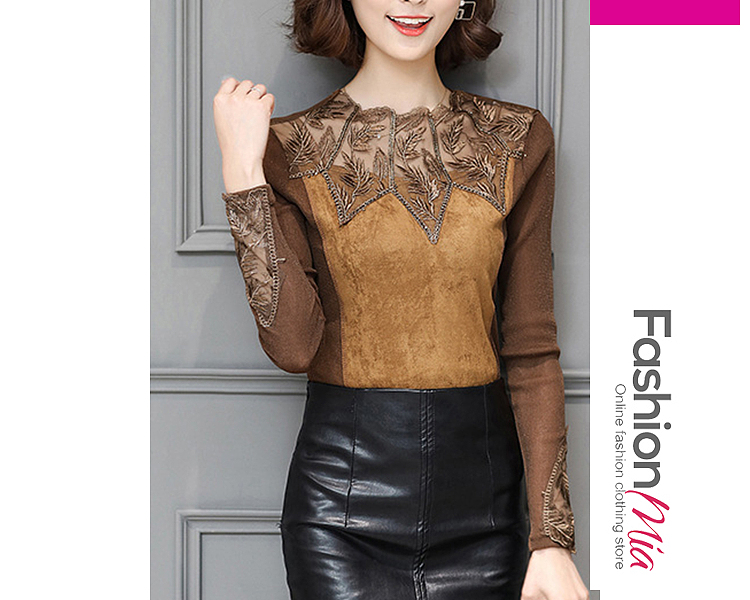 material:polyester, collar&neckline:crew neck, sleeve:long sleeve, pattern_type:hollow out, how_to_wash:hand wash only, occasion:date, season:autumn, package_included:top*1, lengthshouldersleeve lengthbust