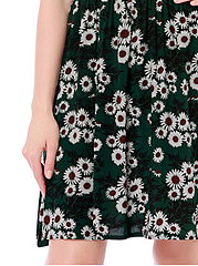 V-Neck Casual Elastic Waist Floral Printed Skater Dress