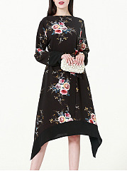 Round Neck Asymmetric Hem Belt Floral Printed Skater Dress