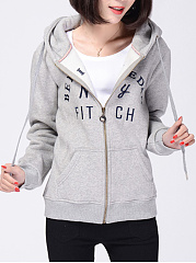 Letters Printed Patch Pocket Hoodie