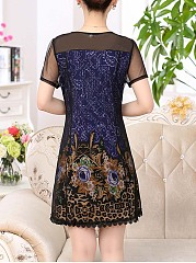 Round Neck  Patchwork  Embroidery Floral Printed Skater Dress