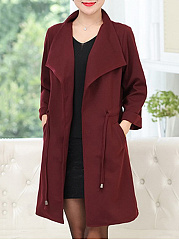 Autumn Spring  Cotton Blend  Lapel  Drawstring  Plain  Long Sleeve Trench Coats