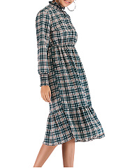 High Neck  Elastic Waist  Plaid Skater Dress