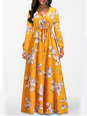 V-Neck  Elastic Waist  Date Printed Maxi Dress