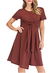 Round Neck  Lace-Up Casual  Plain Shift Dress