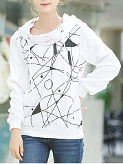Abstract Print Pocket Hoodie