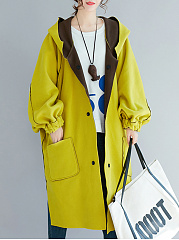 Hooded  Slit Pocket  Decorative Button  Color Block Plain  Long Sleeve Coats