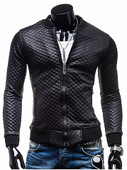 Men-Band-Collar-PU-Leather-Quilted-Plain-Padded-Jacket